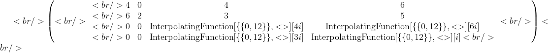 <br /> \left(<br /> \begin{array}{cccc}<br /> 4 &amp; 0 &amp; 4 &amp; 6 \\<br /> 6 &amp; 2 &amp; 3 &amp; 5 \\<br /> 0 &amp; 0 &amp; \text{InterpolatingFunction}[\{\{0,12\}\},&lt;&gt;][4 i] &amp; \text{InterpolatingFunction}[\{\{0,12\}\},&lt;&gt;][6 i] \\<br /> 0 &amp; 0 &amp; \text{InterpolatingFunction}[\{\{0,12\}\},&lt;&gt;][3 i] &amp; \text{InterpolatingFunction}[\{\{0,12\}\},&lt;&gt;][i]<br /> \end{array}<br /> \right) <br />