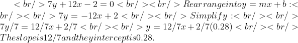 <br /> 7y+12x-2=0<br /> <br /> Rearrange into y=mx+b:<br /> <br /> 7y=-12x+2<br /> <br /> Simplify:<br /> <br /> 7y/7= 12/7x +2/7<br /> <br /> y=12/7x + 2/7(0.28)<br /> <br /> The slope is 12/7 and the y intercept is 0.28.