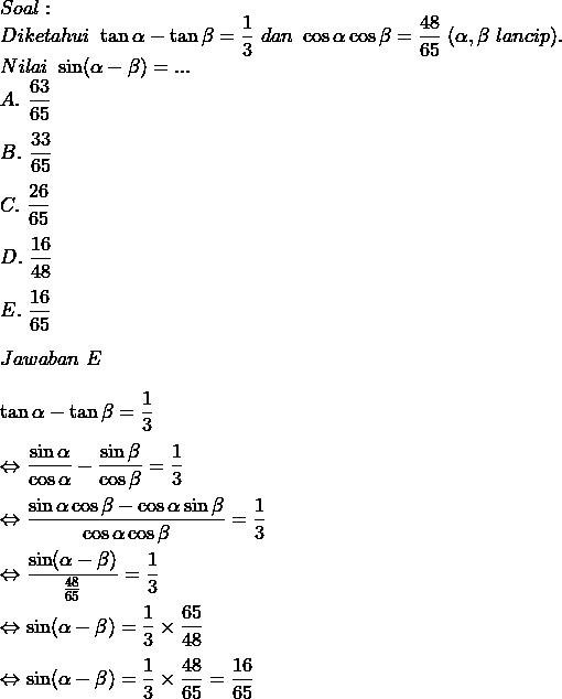 Rumus Fungsi Trigonometri Penjumlahan Dan Pengurangan Dua Sudut