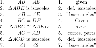 "\begin{array}{cc cc cc}1. & AB = AE  && 1. & \text{given} \ 2. & \Delta ABE\text{ is isosceles} && 2. & \text{d{e}f. isosceles} \ 3. & \angle B = \angle E && 3. & \text{""base angles""} \\  4.  & BC = DE && 4. & \text{Given} \\  5. & \Delta ABC \cong \Delta AED && 5. & s.a.s. \\ 5. & AC = AD && 5. & \text{corres. parts} \\ 6. & \Delta ACD\text{ is isosceles} && 6. & \text{d{e}f. isosceles} \\ 7. & \angle 1 = \angle 2 && 7. & \text{""base angles""} \end{array}"