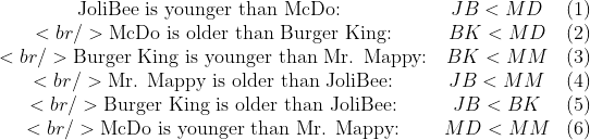 \begin{array}{cccc}\text{JoliBee is younger than McDo: } &amp;  JB &lt; MD  &amp; (1) \<br />