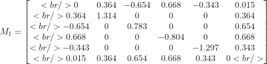 M_1 = \begin{bmatrix}<br /> 0 &amp; 0.364 &amp; -0.654 &amp; 0.668 &amp; -0.343 &amp; 0.015 \\ <br /> 0.364 &amp; 1.314 &amp; 0 &amp; 0 &amp; 0 &amp; 0.364 \\<br /> -0.654 &amp; 0 &amp; 0.783 &amp; 0 &amp; 0 &amp;0.654 \\<br /> 0.668 &amp; 0 &amp; 0 &amp; -0.804 &amp; 0 &amp; 0.668 \\<br /> -0.343 &amp; 0 &amp; 0 &amp; 0 &amp; -1.297 &amp; 0.343 \\<br /> 0.015 &amp; 0.364 &amp; 0.654 &amp; 0.668 &amp; 0.343 &amp; 0<br />  \end{bmatrix}